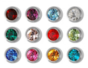 12 Pairs of Studex Ear Piercing Birthstones Silver Coloured Stainless Steel Stud Earrings Mini 2mm Bezel Setting