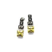 Designer Jewellery - Art Deco Style Marcasite & Peridot Green Crystal Earrings