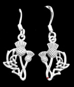 Sterling Silver Drop Earrings with Scottish Thistle Design - Agnes