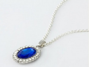 Demarkt Fashion Stylish Vintage Elegant Noble Style Elliptical Sapphire Diamond Necklace Oval Also Special Gift