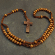 Wood wooden light brown long cord rosary beads necklace 61cm