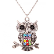 Yaizlind Jewellery Tibetan Silver Colourful Rhinestone Inlay Owl Shape Chain Pendant Necklace Clothes for Women