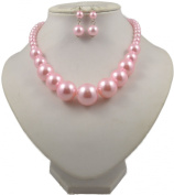 Jay Jewellery - Pink Faux Pearl Graduated necklace with matching earrings