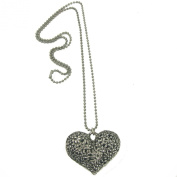 Antique Silver Tone Filigree Heart Pendant Necklace with long chain fashion Jewellery