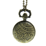 JewelryWe Steampunk Pocket Pendant Watch Vintage Style Crown Design on Lid with 70cm Chain Long Sweat Necklace
