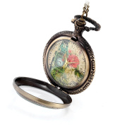JewelryWe Retro Vintage Style Flowers Belfry Pocket Watch Colourful UP Word with 80cm Chain Long Sweat Necklace