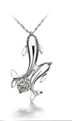 Platinum Plated 925 Sterling Silver Double Dolphin Fish with Sparkly Crystals 46cm Necklace Classic Design