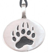 Bear Claw Paw Print Pewter Pendant Necklace