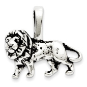 Sterling Silver Antiqued Lion Charm - JewelryWeb