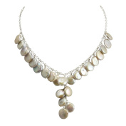 Pennies From Heaven White Coin Pearl Sterling Silver Y-Style Necklace