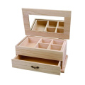 Creativ 1-Piece Wooden Jewellery Display Box with Lift Up Mirror Lid and Removeable Compartment