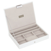 STACKERS 'CLASSIC SIZE' White Lidded STACKER Jewellery Box with Grey Velvet Lining.
