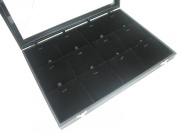 12 Compartment w Black Velvet Pads Protable Jewellery Glass Top Display Box