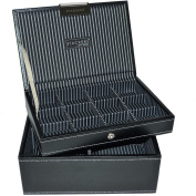 Mens Black Mini Stacker Watch and Cufflinks Box Set of 2 Trays as Shown Jewellery / watch Box