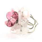 MGD, Light Pink Cluster Fashion Ring. Rose Quartz and Glass Beads Fashion Ring. Adjustable Size. Fancy Ring Jewellery for Women, Teens and Girls., JB-0055