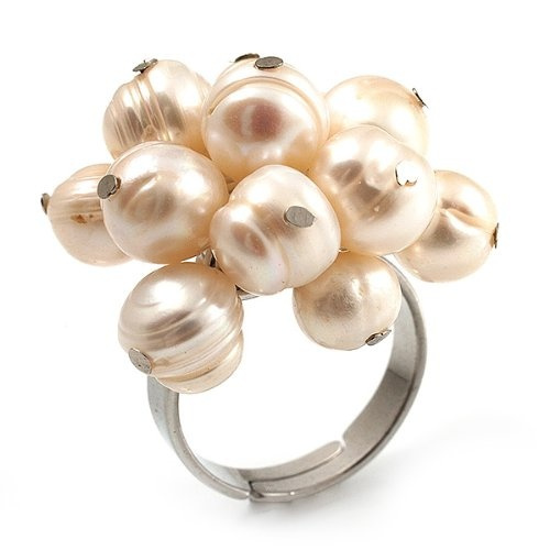 light freshwater pearl cluster ring silver tone