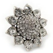 Rhodium Plated Diamante Sunflower Cocktail Ring - Size 7/8 Adjustable