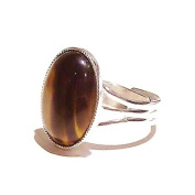 Tiger's Eye Cabochon Ring - Adjustable
