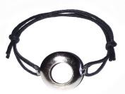 Facioyo Exclusive-Facioyo Hippy ANTIQUE SILVER Infinity Friendship Karma Wish Hope Love Peace Bracelet Cord Boho [BLACK] with Gift Card