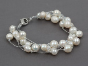 Snow White Freshwater Pearl with Silver Colour Wire Multi-Strand Bracelet