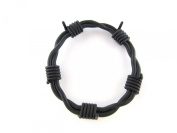 Mens / Boys Black Silicone Barbed Wire Bangle Wristband