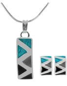 Stylish Turquoise, Grey & Black Enamel Fashion Stud Earrings & Necklace Set - Ideal Gift Idea