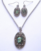 Oval Shaped Paua Shell Pendant With Diamante Detail Matching Earrings Set