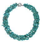 Bling Jewellery Silver Tone Genuine Turquoise Gemstone Chips Bib Necklace 46cm