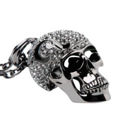 Black Crystal Skull Pendant Necklace with Quality IP Plated Black Chain 80cm . Luxury Large Design Unisex PN-08