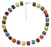 Valentina Genuine Murano Glass Bright Multi Cube Necklace of 45cm