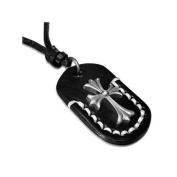 Urban Male Black Leather Cross Dog Tag Necklace Adjustable