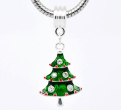 Silver Plated Green and Red Enamel Christmas Tree with 5 stones as decorations Dangle Charm for Pandora/Troll Style Charm Bracelet, Slide on slide off.