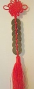 Chinese Lucky Coins Charm on Auspicious Red Cord; 6 Coins; 25mm Diameter; Feng Shui; Top to Bottom length 35cms.