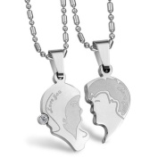 "JewelryWe Couples Stainless Steel Puzzle ""Love You"" Heart Pendant Necklaces"