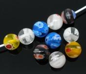 Housweety 50 Mixed Millefiori Glass Lampwork Round Beads 8mm
