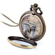 JewelryWe Retro Vintage Style French Triumphal Arch Arc De Triomphe Pocket Watch Pendant Long Necklace 80cm