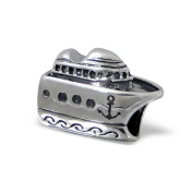 Silvadore - Silver Bead - Ship Boat Cruise Holiday Sea Anchor Waves - 925 Sterling Charm 3D Slide On 266 - Fits Pandora European Bracelet.