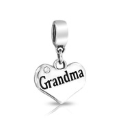 Bling Jewellery 925 Sterling Silver Crystal Grandma Heart Dangle Bead Fits Pandora