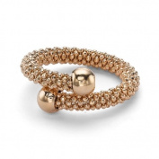 Jewelco London Silver - Beaded Popcorn - Single Wrap Ring - Rose Gold Plated