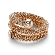 Jewelco London Silver - Beaded Popcorn - Double Wrap Ring - Rose Gold Plated