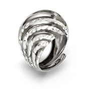 Sterling Silver Ruthenium-plated Diamond-cut Adjustable Ring - JewelryWeb