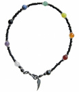 ~ 9 CHAKRA BLACK ~ HANDCRAFTED GEMSTONE BEADED ANKLET ANKLE CHAIN ANKLE BRACELET 27cm or any size
