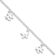 Black Bow Jewellery Company : Butterfly & Bee Charm Anklet in Sterling Silver, 25cm