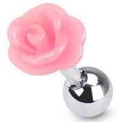 Pretty Pink Rose Cartilage Upper Ear Helix Tragus Surgical Steel Earring Other Colours Available in our Pegasus Body Jewellery Amazon Shop