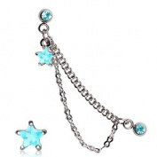 Gekko Body Jewellery Surgical Steel 16 Gauge (1.2mm) Double Chained Aqua CZ Star Cartilage / Helix Earring Stud