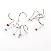 10 Stainless Steel Nose Stud Ring Bone Bar Pin Piercing HOT