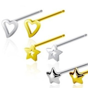 .925 Sterling Silver Bendable Nose stud.-gold hollow star [Jewellery]