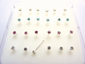 pack of 24 sterling silver clawset nose studs 4 colour jewel clear,pink.aquablue,ab 6 of each colour 10mm posts can be bent into l shape to hold nose stud in place clawset jewels so jewels will not fall out 1.8mm square cut jewels