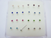 Pack 24 sterling silver nose studs clawset jewel(jewels can not fall out) 8 different colour cz jewels 3 of each colour jewel 10mm posts which can be bent into L shape to hold nose stud in place jewel size 1.8mm