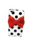 White Sweet Polka Dots Pattern Red Bling Bow TPU Case Cover Skin For Apple iPod Touch 4 +Screen Protector